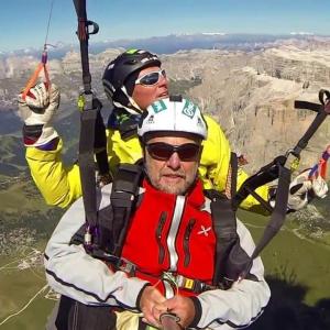 Tandem paragliding flight with Tone Valeruz